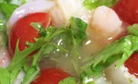 超簡単!わさび菜レシピ②イカとエビのカルパッチョ わさび菜バージョン